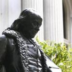 The repaired statue of Ben Franklin was reinstalled in front of Old City Hall.