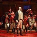 Lin-Manuel Miranda, foreground, with the cast during a performance of