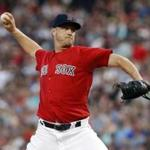 Aug 26, 2016; Boston, MA, USA; Boston Red Sox starting pitcher Steven Wright (35) throws a pitch against the Kansas City Royals in the first inning at Fenway Park. Mandatory Credit: David Butler II-USA TODAY Sports