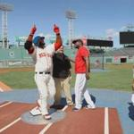 IMAGE DISTRIBUTED FOR LEGO® SYSTEMS, INC. - In this image released on Wednesday, Aug. 31, 2016, Boston Red Sox designated hitter David Ortiz checks out his life-size LEGO likeness built by LEGO Master Builder Jeff Rushby (left) on home plate at Fenway Park in Boston. Made from more than 34,500 bricks, the model is admired by Big Papi's son, D'Angelo Ortiz from afar. (Damian Strohmeyer/AP Images for LEGO® Systems, Inc.)
