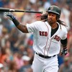 08/31/16: Boston, MA: The Red Sox Hanley Ramirez blasted a bottom of the fifth inning grand slam on the first pitch he saw, turning a 4-1 defecit into a 5-4 lead. He carried his bat with him half way down the first base line and when the ball was safely out of the yard he tossed away his bat and started his home run trot. The Boston Red Sox hosted the Tampa Bay Rays in a regular season MLB baseball game at Fenway Park. (Globe Staff Photo/Jim Davis) section: sports topic: Red Sox