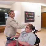 Christine McSherry greeted her 20-year-old son, Jett, at his Bridgewater State University dorm.