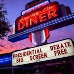 A marquee advertised the opportunity to watch Monday's US presidential debate at the American City Diner in Washington.