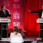 GREENVILLE, SC - FEBRUARY 13: Republican presidential candidates (L-R) Sen. Ted Cruz (R-TX) and Donald Trump participate in a CBS News GOP Debate February 13, 2016 at the Peace Center in Greenville, South Carolina. Residents of South Carolina will vote for the Republican candidate at the primary on February 20. (Photo by ) *** BESTPIX *** 26crit