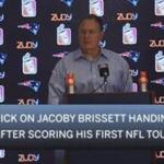 Jacoby Brissett handed Bill Belichick the football after scoring his first NFL touchdown