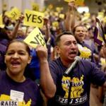 Boston Ma 09242016 Jose Reina (cq) was part of meeting of Janitors from the greater Boston area who voted yes , to authorize their bargaining committee to call for a strike if they can't agree on a deal by September 30th. Globe/Staff Photographer Jonathan Wiggs