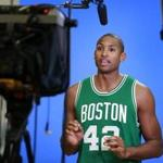 New Celtics forward Al Horford recorded a promotional video Monday during the team's media day.