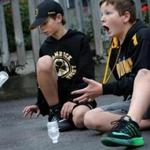 Brendan O'Brien, 12, landed a bottle on its cap while showing off his skills with James Tobin in West Roxbury.