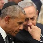 Israeli Prime Minister Benjamin Netanyahu, right, talked with President Barack Obama at the Mount Herzl national cemetery during the funeral of former Israeli President Shimon Peres on Friday.