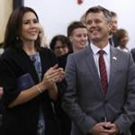 Crown Prince Frederik of Denmark, right, and his wife Crown Princess Mary in Waltham on Thursday.