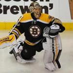 Boston-10/08/15 - The Boston Bruins vs. the Winnipeg Jets. Bruins Tuukka Rask stretches during pre game warmups. Boston Globe staff photo by John Tlumacki(sports)