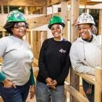 10/05/2016 BOSTON, MA L-R Shamaiah Turner (cq), Shara Noldseiro (cq), and Jenaya Pina-Nelson (cq) pose for a photo at the New England Carpenters Training Center in Boston. (Aram Boghosian for The Boston Globe)