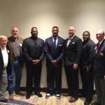 From left: Tom Yewcic, Pete Brock, Andre Tippett, Willie McGinest, Matt Chatham, Patrick Pass, and Gridiron Club of Greater Boston president Jim Kearney at the Marriott Hotel in Burlington.