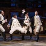 "From left: Daveed Diggs, Okieriete Onaodowan, Anthony Ramos, and Lin-Manuel Miranda in ""Hamilton."""