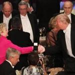 Hillary Clinton and Donald Trump at the Alfred E. Smith Memorial Foundation Dinner at New York's Waldorf Astoria.