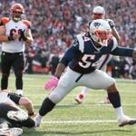 Foxborough, MA - 10-16-16 - Dont'a Hightower celebrates after sacking Andy Dalton in the end zone for a Safety in 3rd quarter.Gillette Stadium Cincinnati Bengals at New England Patriots - 3rd quarter action. (Jim Davis/Globe staff)
