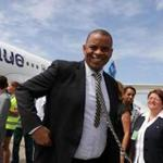 US Transportation Secretary Anthony Foxx deplaned from the JetBlue flight 387 at the airport in Santa Clara, Cuba, in August.