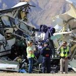 Investigators at the scene of a mass casualty bus crash on the westbound Interstate 10 freeway near Palm Springs, Calif. on Sunday.