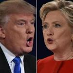 (FILES) This combination of file photos taken on September 26, 2016 shows Republican presidential nominee Donald Trump and Democratic presidential nominee Hillary Clinton facing off during the first presidential debate at Hofstra University in Hempstead, New York. On the campaign trail, they are studies in contrast. Donald Trump, the Republican nominee, peppers his freewheeling speeches with buzzwords that pack a punch; Hillary Clinton, the Democrat, takes the unexciting high road in her more rehearsed stump speeches. Linguists say each candidate's word choices are part of their larger brand strategies. Trump's