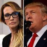 Jessica Drake (left) accused Donald Trump of grabbing and kissing her without permission.