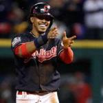 Indians shortstop Francisco Lindor was all smiles after stealing second base in the first inning.
