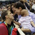 Michael Phelps and Nicole Johnson wouth their baby, Boomer, in August.