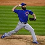 CLEVELAND, OH - OCTOBER 26: Jake Arrieta #49 of the Chicago Cubs throws a pitch during the sixth inning against the Cleveland Indians in Game Two of the 2016 World Series at Progressive Field on October 26, 2016 in Cleveland, Ohio. (Photo by Jamie Squire/Getty Images)