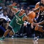 10/26/16: Boston, MA: The Celtics Avery Bradley loses control of the ball as he is pressured by the Nets Rondoe Hollis-Jefferson (right) in the first quarter The Boston Celtics hosted the Brooklyn Nets in the regular season NBA basketball opener at the TD Garden. (Globe Staff Photo/Jim Davis) section: sports topic: Celtics-Nets