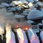 A fire broke out on a boat in the Wellington Yacht Club's storage lot early Friday morning, severely damaging the vessel and another next to it, State Police said.