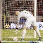 US goalkeeper Brad Guzan fetched the ball from the goal after Costa Rica's fourth goal.