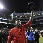 Boston Red Sox designated hitter David Ortiz tips his cap after Game 3 of baseball's American League Division Series, Monday, Oct. 10, 2016, in Boston. (AP Photo/Charles Krupa)