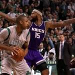 eBoston, MA - 12/02/2016 - (4th quarter) With 0:05 left in the fourth quarter Boston Celtics center Al Horford (42) blocked a 3 point attempt by Sacramento Kings center DeMarcus Cousins (15)leaving the King's center looking for a call. The Boston Celtics take on the Sacramento Kings at TD Garden. - (Barry Chin/Globe Staff), Section: Sports, Reporter: Adam Himmelsbach, Topic: 03Celtics-Kings, LOID: 8.3.852505292.