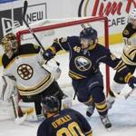 Buffalo Sabres forward William Carrier (48) skates through the crease during the second period of an NHL hockey game against the Boston Bruins, Saturday, Dec. 3, 2016, in Buffalo, N.Y. (AP Photo/Jeffrey T. Barnes)
