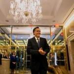 Mitt Romney spoke to reporters after returning from a dinner with President-elect Donald Trump.