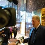 NEW YORK, NY - DECEMBER 5: Former Vice President Al Gore talks to the media after meeting with President-elect Donald Trump at Trump Tower on December 5, 2016 in New York City. Trump has been holding daily meetings at the luxury high rise that bears his name since his election in November. (Photo by Kevin Hagen/Getty Images)