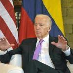 US Vice-President Joe Biden gestures during a meeting with Colombian President Juan Manuel Santos (out of frame) at the Casa de Huespedes Ilustres in Cartagena, Colombia, on December 1, 2016. Biden begins a two-day visit to Colombia where he will attend the US-Colombia Business Advisory Council Meeting opening session. / AFP PHOTO / GUILLERMO LEGARIAGUILLERMO LEGARIA/AFP/Getty Images