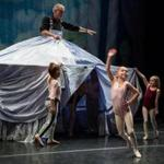 "Eva Gambon (waving) at a ""Nutcracker"" rehearsal."