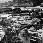 A view of the Great Molasses Flood aftermath, looking north across North End Park.