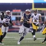 FOXBORO, MA - JANUARY 22: Chris Hogan #15 of the New England Patriots carries the ball against the Pittsburgh Steelers during the third quarter in the AFC Championship Game at Gillette Stadium on January 22, 2017 in Foxboro, Massachusetts. (Photo by Maddie Meyer/Getty Images)