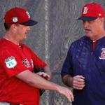 Red Sox pitcher Steven Wright talked with manager John Farrell after his mound session Monday.