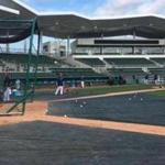 As the assistant hitting coach for the Red Sox, one of Victor Rodriguez's jobs is to pitch batting practice
