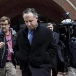 Boston, MA - 3/22/2017 - Barry Cadden leaves the Moakley United States Court in Boston, MA, March 22, 2017. The former co-owner of a Massachusetts compounding pharmacy was convicted Wednesday of racketeering and other charges in the 2012 fungal meningitis outbreak that killed more than 60 people and sickened hundreds more nationwide. (Keith Bedford/Globe Staff)