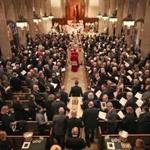 BOSTON, MA - 3/22/2017: Funeral for for Boston College's 24th and longest-serving president Rev. J. Donald Monan, SJ,. (1972-1996) The Mass will be celebrated by Rev. Robert L. Keane, SJ, rector of BC's Jesuit Community, and concelebrated by more than 40 of Fr. Monan's fellow Jesuits, including Boston College President Rev. William P. Leahy, SJ, and Rev. Joseph O'Keefe, SJ, who will deliver the eulogy. St. Ignatius Church (David L Ryan/Globe Staff Photo) SECTION: METRO TOPIC 23monan