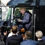President Donald Trump climbed into the driver's seat of an 18-wheeler while meeting with truck drivers and CEOs on the South Portico.