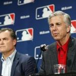 Boston Red Sox manager John Farrell, left, and Boston Red Sox president of baseball operations Dave Dombrowski answer questions from the media during Major League Baseball's winter meetings, Tuesday, Dec. 6, 2016 in Oxon Hill, Md. (AP Photo/Alex Brandon)