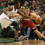 Boston MA 3/26/17 Boston Celtics Jae Crowder steals the ball from Miami Heat Goran Dragic during second quarter action at the TD Garden. (Photo by Matthew J. Lee/Globe staff) topic: reporter: