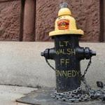 A fire hydrant in front of the Boylston Street firehouse that was home to the late firefighters Edward J. Walsh Jr. and Michael R. Kennedy. Sunday was the third anniversary of their deaths in a nine-alarm fire on Beacon Street.