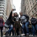 "The ""Fearless Girl"" statue in New York."