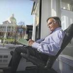 In an office overlooking the State House, Mr. Mihos wrote a speech during a campaign for governor.