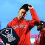 Boston-04/05/2017- Boston Red Sox vs Pirates- Sox pitcher Rick Porcello acknowledges the applause as he accepts his Cy Young award trophy before the game. John Tlumacki/Globe staff(sports)